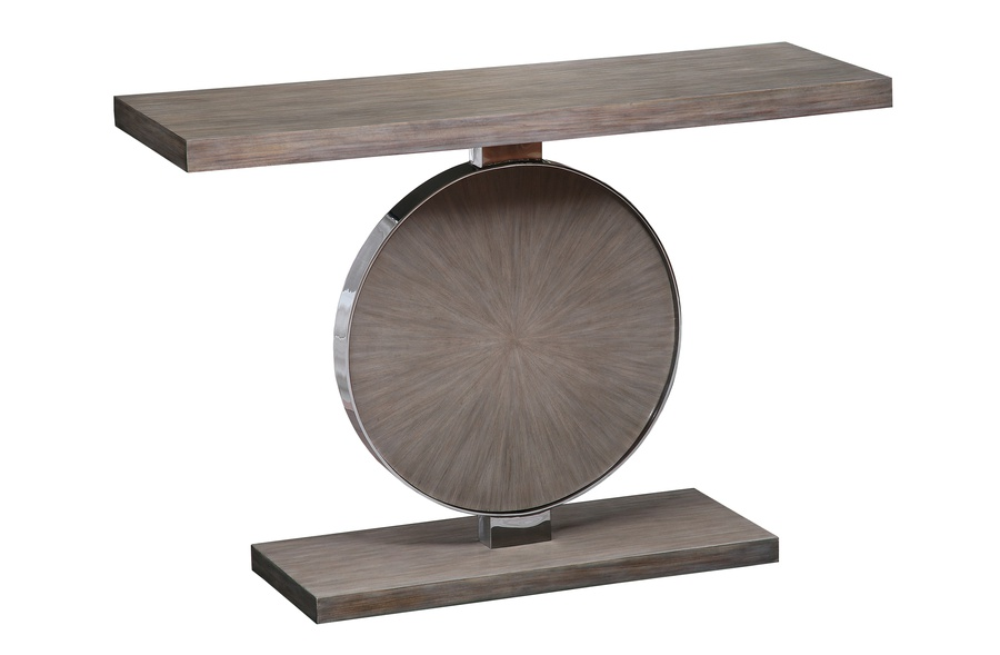 Equinox Console shown with:Saddle finishPolished Crystal Stone Taupe insetSatin Brass accent