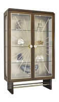 Equinox Display Cabinet shown with:Contemporary Havana finishBombay finish on baseCashmere Gold finish on inside back panelSatin Brass decorative metalworkPolished Nickel/Satin Brass hardware