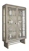 Equinox Display Cabinet shown with:Slate finishCashmere Silver finish on inside back panelStainless Steel decorative metalworkPolished Nickel hardware