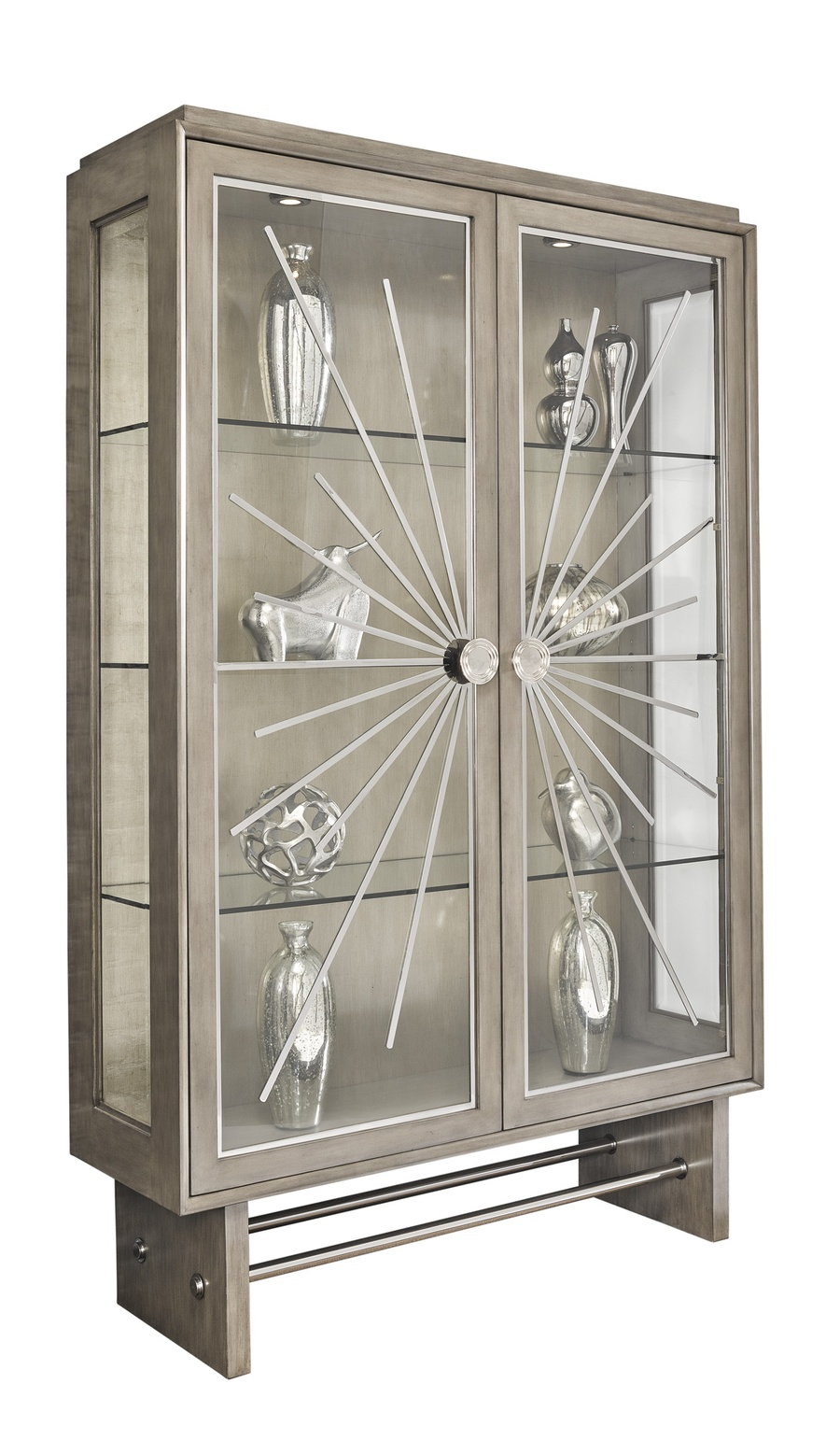 Equinox Display Cabinet shown with:Bombay finishCashmere Silver finish on inside back panelStainless Steel decorative metalworkPolished Nickel hardware