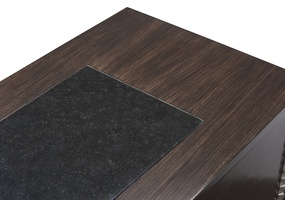 Equinox Credenza shown with:Bombay finishPolished Absolute Black Granite top