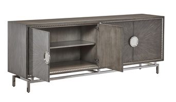 Equinox Credenza shown with:Slate finish with Cashmere Silver trimPolished Greystone Marble topStainless Steel metal legsPolished Nickel hardware