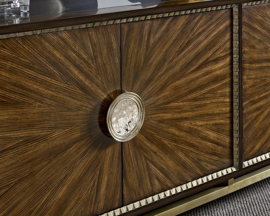EquinoxCredenza shown with:Slatefinish with Cashmere Silver trimSlatefinish on doorsPolished Greystone Marble topStainless Steel metallegsPolished Nickel hardware