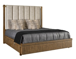 Equinox Panel Bed shown with:Contemporary Briar finishSatin Brass metalAntique Brass nailhead trim over tape