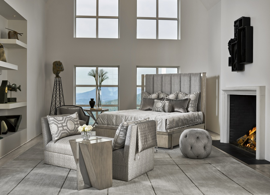EquinoxPanel Bed shown with:Slatefinish Stainless Steel metalSilver nailhead trim over tape