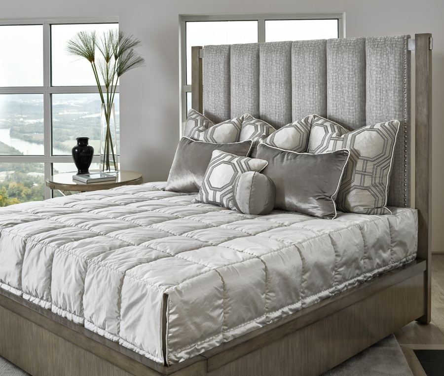 Equinox Panel Bed shown with:Slate finish Stainless Steel metalSilver nailhead trim over tape