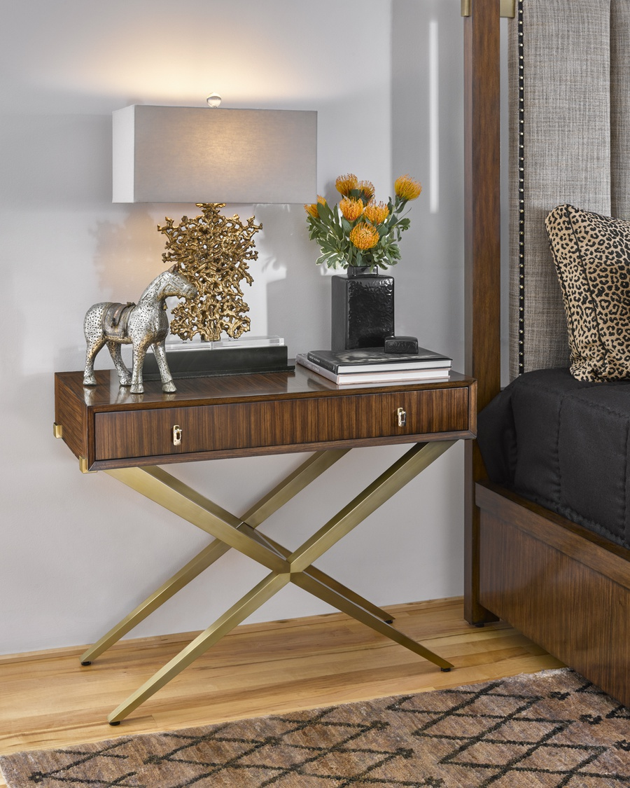Equinox Nightstand shown with:Contemporary Briar finishContemporary Briar finish on drawer facePolished Absolute Black Granite topSatin Brass metal legsPolished Nickel/Satin Brass hardware