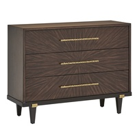 Equinox Chest shown with:Contemporary Briar finishContemporary Briar finish on drawersBombay finish on baseSatin Brass metal bracketsSatin Brass hardware