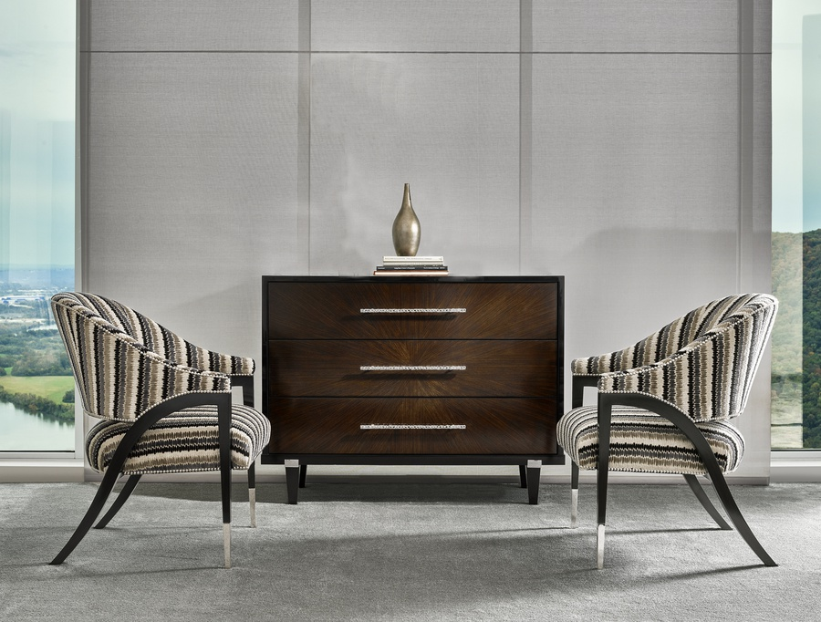 Equinox Chest shown with:Caviar finishBombay finish on drawers Stainless Steel metal bracketsPolished Nickel hardware