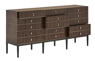 Equinox Dresser shown with:Contemporary Briar finishBombay finish on baseSatin Brass decorative metalPolished Nickel/Satin Brass hardware