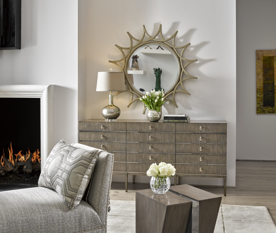 Equinox Dresser shown with:Slate finish Stainless Steel decorative metalPolished Nickel hardware