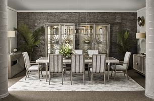 Equinox Dining Table shown with:Slate finishSlate finish on legsStainless Steel metal bracketsPolished Crystal Stone Alabaster tile inset