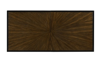 Equinox Dining Table top shown with:Contemporary Briar finishBorder in Caviar finish