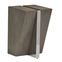 Equinox Chairside Table shown with:Slate finishStainless Steel metal finish