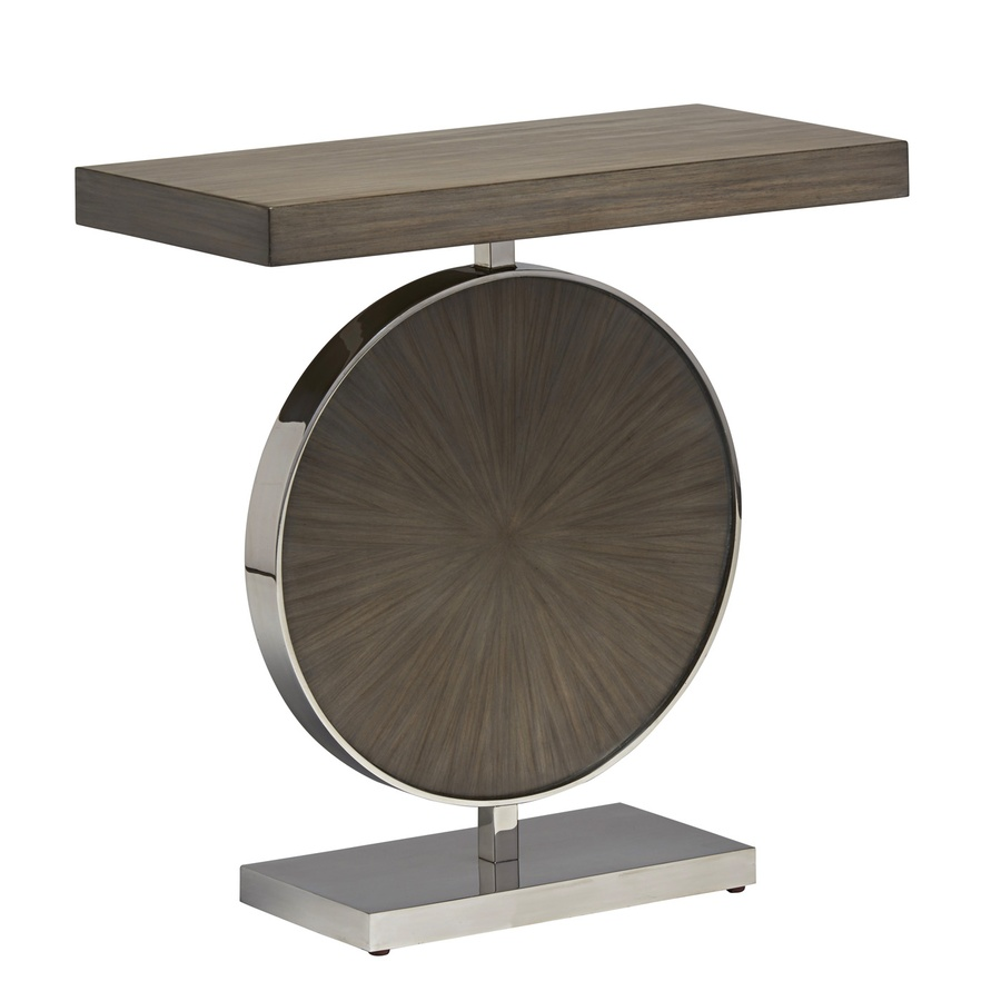 Equinox Chairside Table shown with:Slate finishSlate finish on circle insetStainless Steel decorative metal