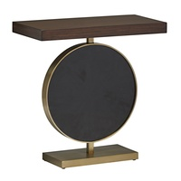 Equinox Chairside Table shown with:Contemporary Briar finishPolished Shell Raven circle insetSatin Brass decorative metal
