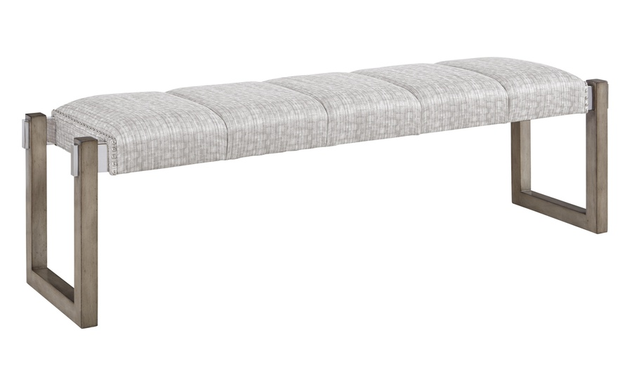 EquinoxBenchshown with:Channeled SeatCashmere SilverfinishStainless Steel metal bracketsMerengue nailhead trimover fabric tape