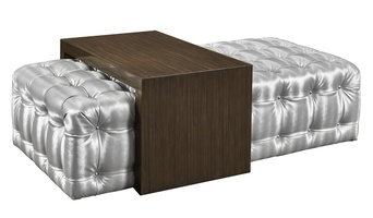 Equinox Cocktail Ottoman shown with:Silver metal buttonsBombay finish on sliding table