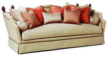 Francesca Sofa shown with:Boxed bench seatDeep skirt Decorative ratchet tasselsDecorative finialsNailhead frame trim