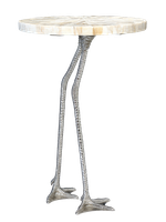 Flamingo Chairside Table shown with:Polished Nickel finish on baseTextured Crystal Stone Taupe on top