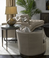 Palms End Table shown with:Dark Bay finish on baseRaffia top in Dark Bay finishMetal accents in Bronzed Brass finish