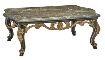 Grand Traditions Cocktail Table shown with:BombayfinishVenetianGoldLeaf finishtrimPolished Michaelangelo Marble top