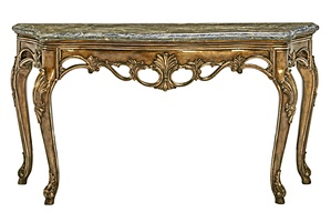 Grand Traditions Console shown with:Bronzed Silver finishVerona SilverLeaf finishtrimPolished Michaelangelo Marble top