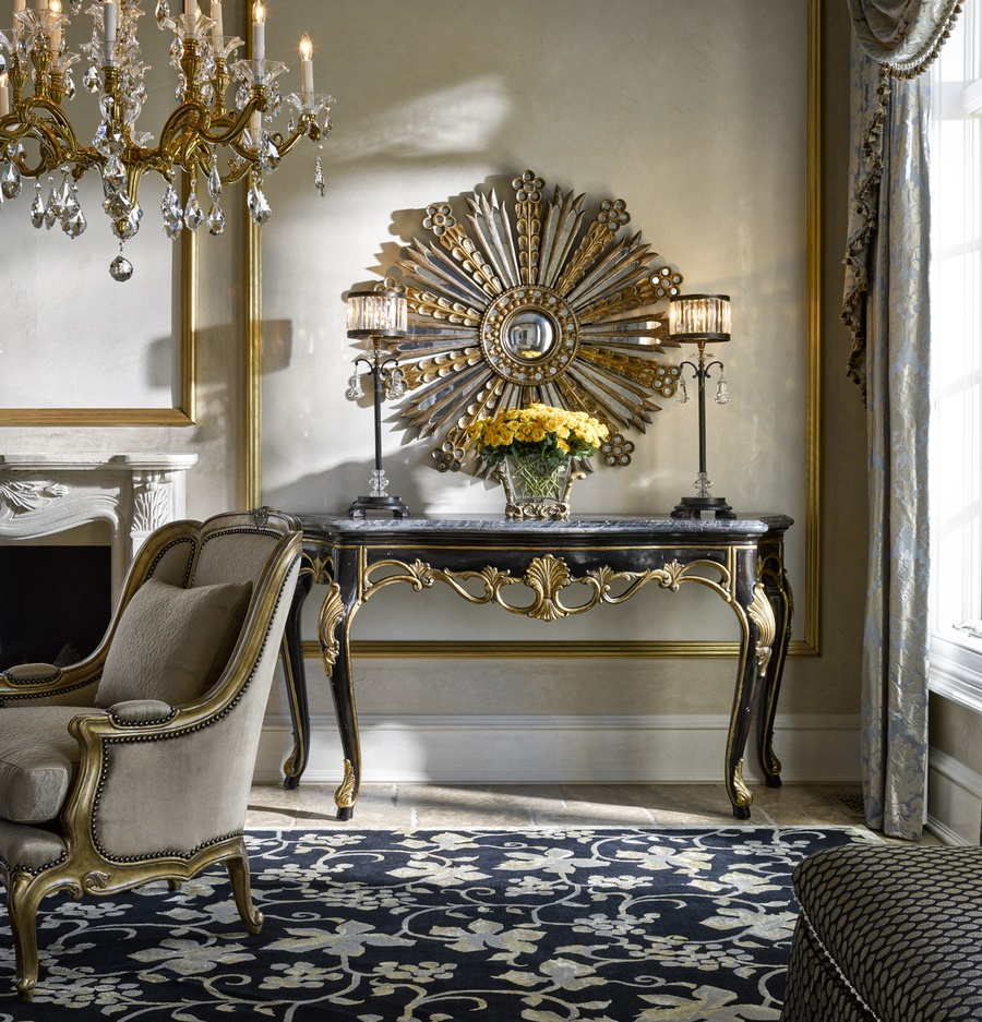 Grand Traditions Console shown with:Bombay finishVenetian Gold Leaf finish trimPolished Michaelangelo Marble top