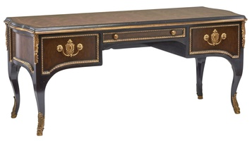 Grand Traditions Desk shown with:Noche finishAged Gold Leaf finish trimContrast panel insets in Havana finishAntique Brass decorative hardware and ormolu