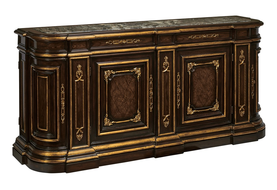 Grand Traditions Credenza shown with:Bombay finishVenetian Gold Leaf finish trimDecorative hardware in Antique Satin BrassInset top of Polished Michelangelo Marble