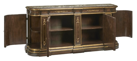 Grand Traditions Credenza shown with:Havana finishAged Gold Leaf finish trimDecorative hardware in Antique BrassInset top of Polished Michaelangelo Marble