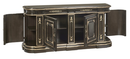 Grand Traditions Credenza shown with:Bombay finishVenetian Gold Leaf finish trimDecorative hardware in Antique Satin BrassInset top of Absolute Black Granite