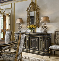 Grand Traditions Credenza shown with:Bombay finishVenetian Gold Leaf finish trimDecorative hardware in Antique Satin BrassInset top of Polished Michaelangelo Marble