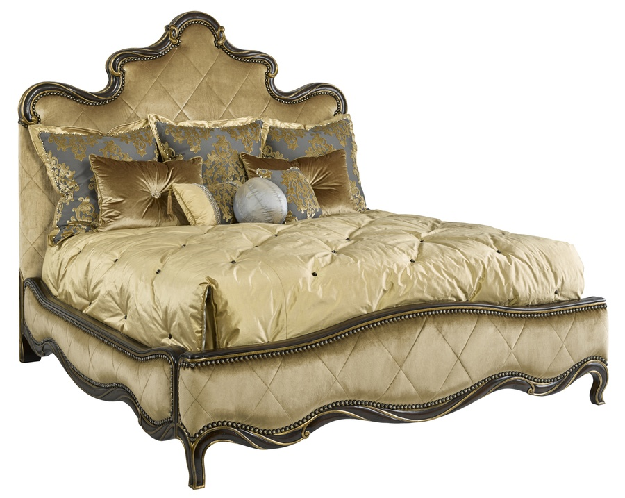 Grand Traditions Panel Bedshown with:Diamond QuiltedBronzed SilverfinishVerona Silver Leaf finish trimSilver Star nailhead trim