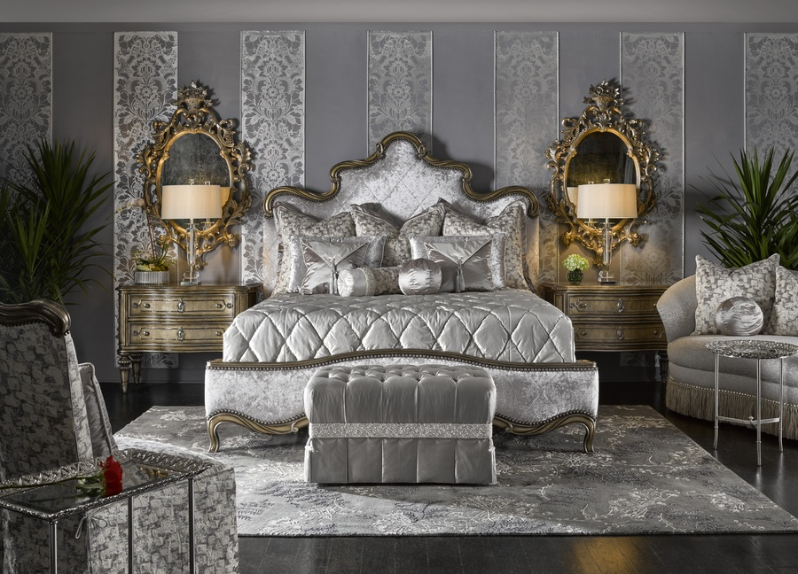 Grand Traditions Panel Bed shown with:Diamond QuiltedBronzed Silver finishVerona Silver Leaf finish trimSilver Star nailhead trim