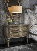 Grand Traditions Nightstand shown with:Bronzed Silver finishVerona Silver Leaf finish trimDecorative hardware in Antique NickelAntique Mirror inset top
