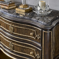 Grand Traditions Nightstand shown with:Havana finishAged Gold Leaf finish trimDecorative hardware in Antique BrassPolished Michaelangelo Marble top