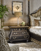 Grand Traditions Nightstand shown with:Bombay finishBronze Silver Leaf finish trimDecorative hardware in Antique Nickel