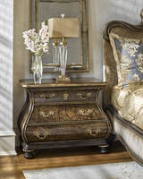 Grand Traditions Nightstand shown with:Havana finishAged Gold Leaf finish trimDecorative hardware in Antique Brass