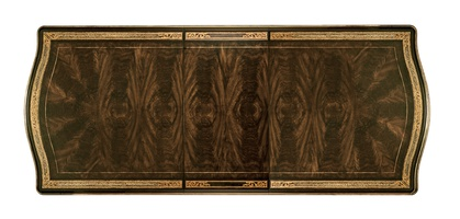 Grand Traditions Dining Table top shown with:Bombay finishVenetian Gold Leaf finish trimAntique mirror inlay on top