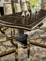 Grand Traditions Dining Table shown with:Bombay finishVenetian Gold Leaf finish trimAntique mirror inlay on top