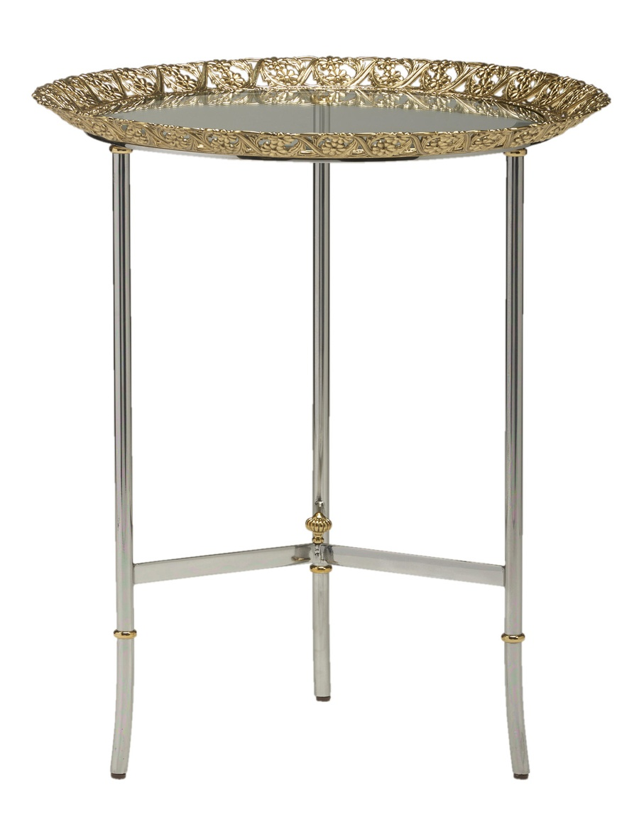 Grand Traditions Chairside Table shown with:Stainless SteelfinishPolished Nickel decorative top and accentsInset top of Antique Mirror