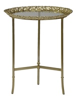 Grand Traditions Chairside Table shown with:Satin Brass finishAntique Satin Brass decorative top and accentsInset top of clear glass