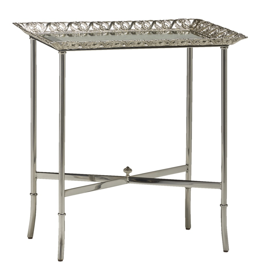 Grand Traditions Chairside Table shown with:Stainless SteelfinishPolished Brassdecorative top and accentsInset top of clear glass