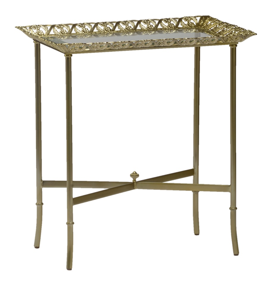Grand Traditions Chairside Table shown with:Stainless Steel finishPolished Brass decorative top and accentsInset top of clear glass