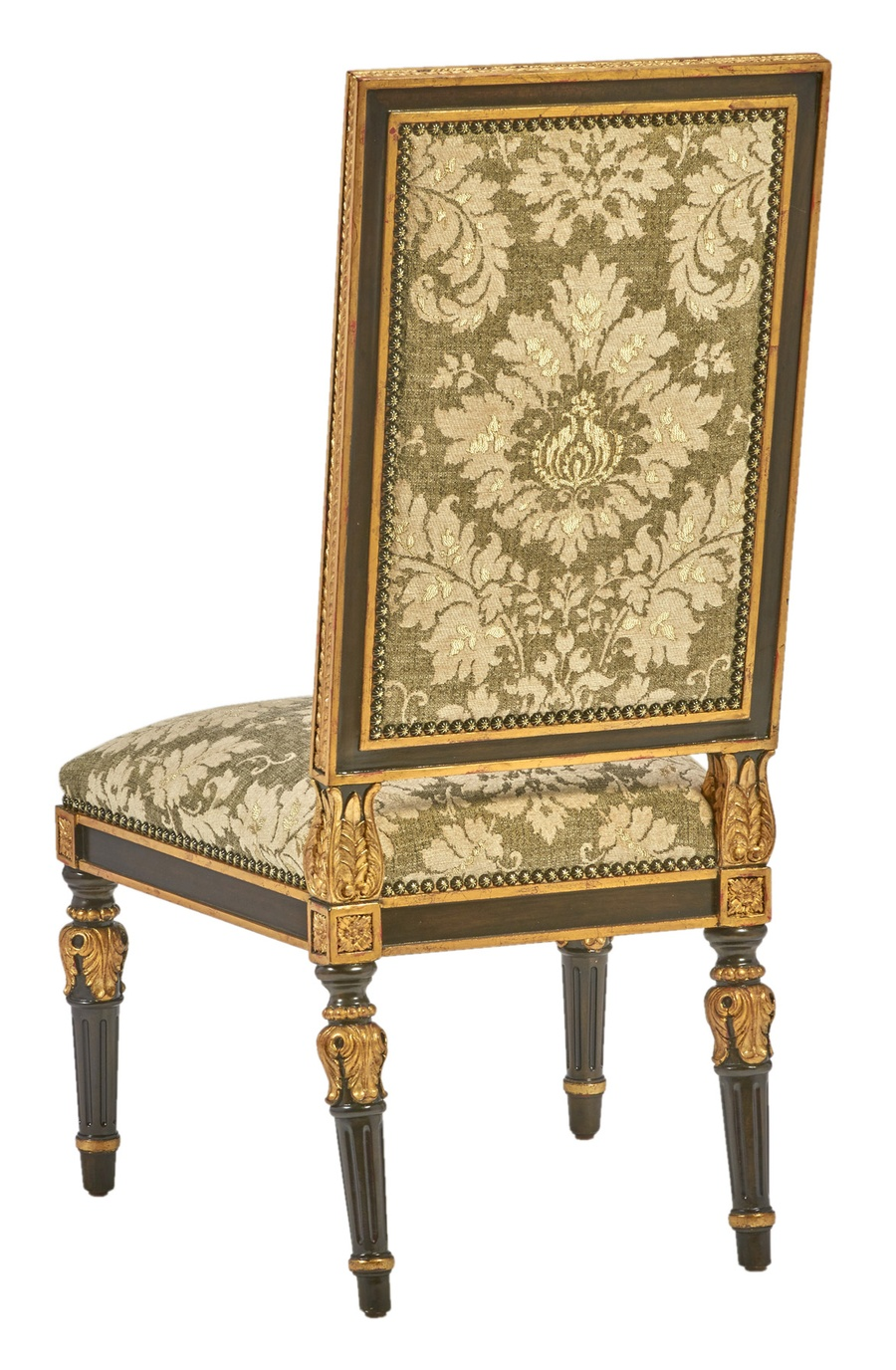 Grand Traditions Side Chair shown with:Bombay finishVenetian Gold Leaf finish trimBronze Star nailhead trim