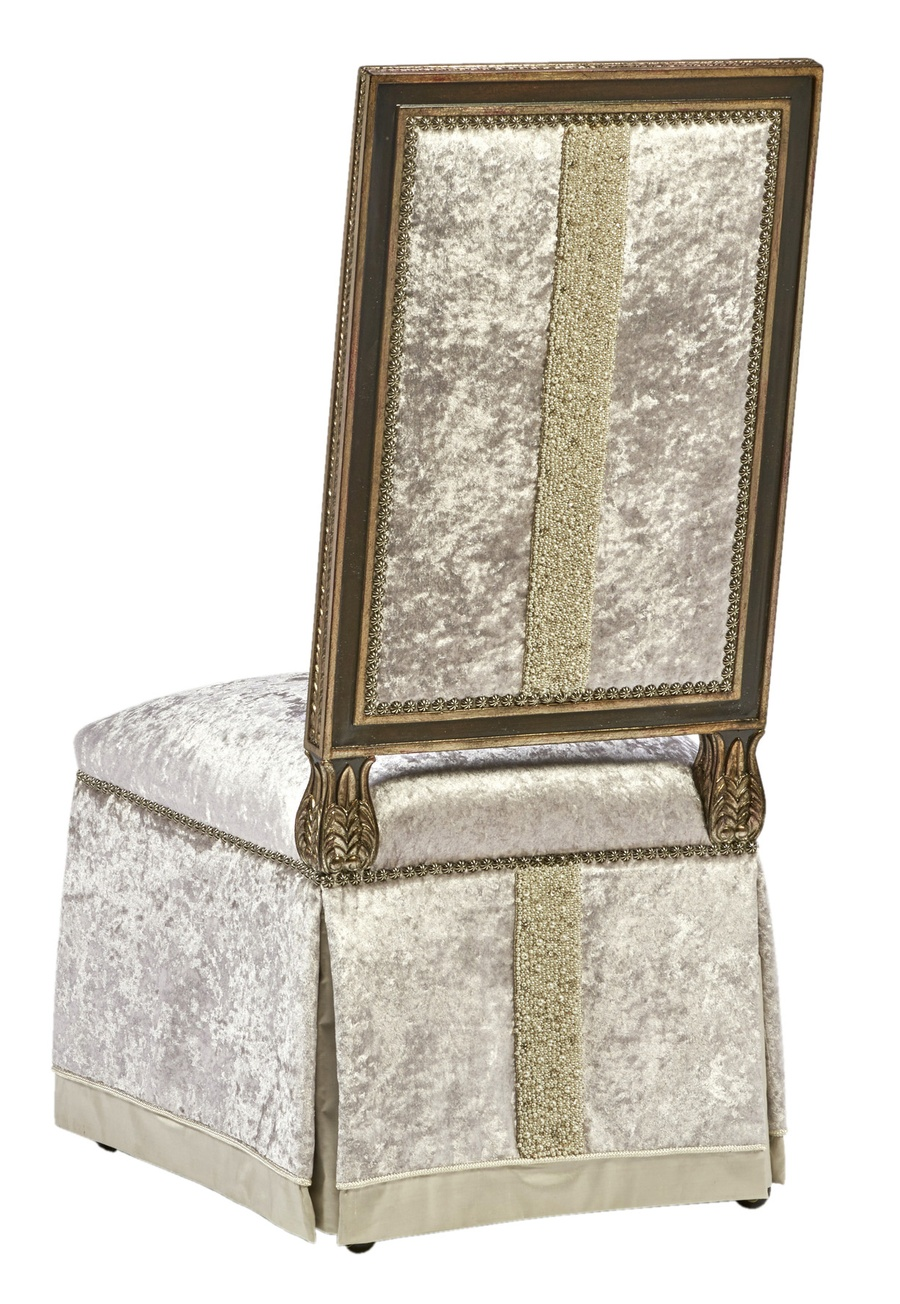 Grand Traditions Side Chair shown with:Bronzed Silver finishVerona Silver Leaf finish trimSilver Star nailhead trimDeep skirt with contrast underskirt