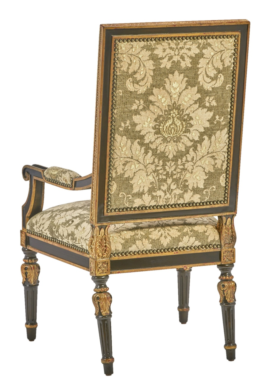 Grand Traditions Arm Chair shown with:Bombay finishVenetian Gold Leaf finish trimBronze Star nailhead trim