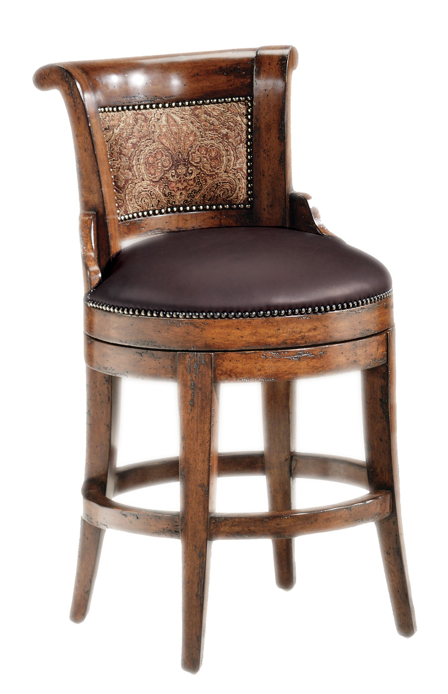Hampton Counter Stool shown with:Tight seat and backOld World Hazelnut finishAntique Brass nailhead frame trim