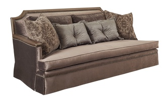 HuxleySofa shown with:Boxed bench seatDeep Skirt base with built-in base and sidesBronzeStar nailhead frame trim